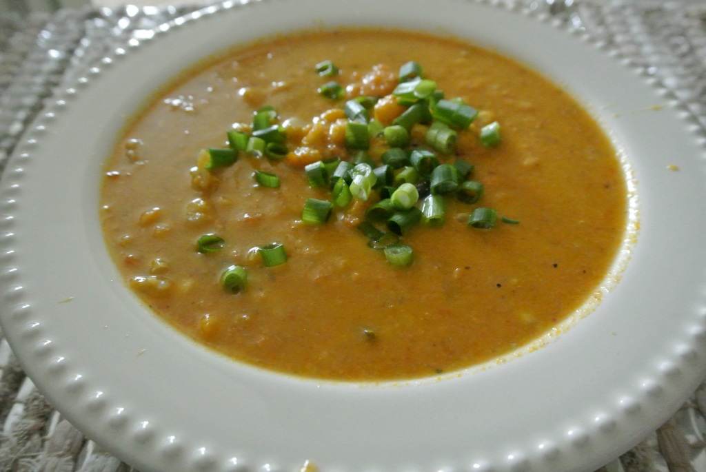 sweet potato corn chowder with chicken and cauliflower - pearls on a ...