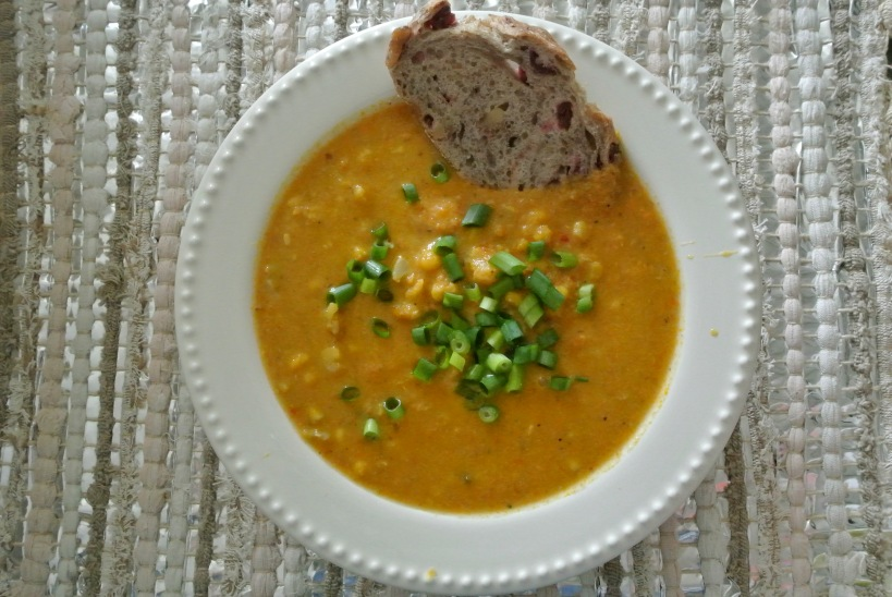 corn chowder with bread